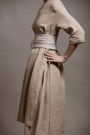 Woman is wearing an organic linen fabric outfit