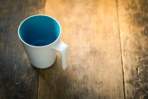 drink less empty coffee mug
