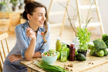 Girl eating organic food