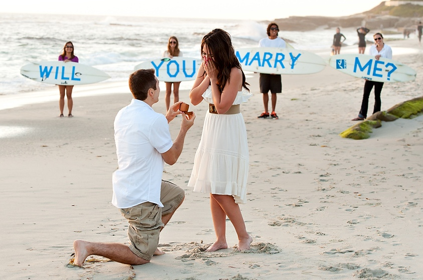 Valentine's Day Proposal on a beach