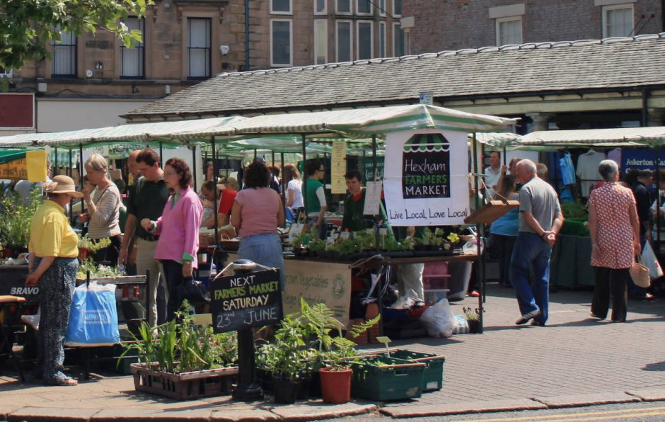 Hexham in Northumberland farmers market